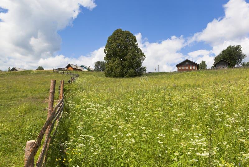 Paste perto da região de Vologda do distrito de Markovskaya Verhovazhskogo da vila foto de stock