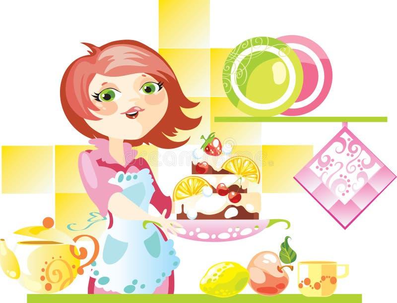 Pastei aan thee vector illustratie