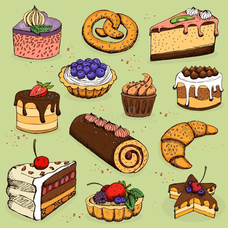 Pastei en bloemproducten voor bakkerij, gebakje royalty-vrije illustratie