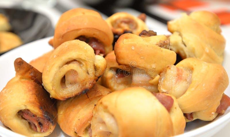Pastei met bacon stock foto's