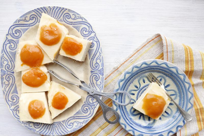 Pastei met kwark en abrikozen royalty-vrije stock foto