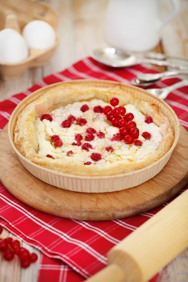 Pastei met rode aalbes en kwark stock afbeeldingen