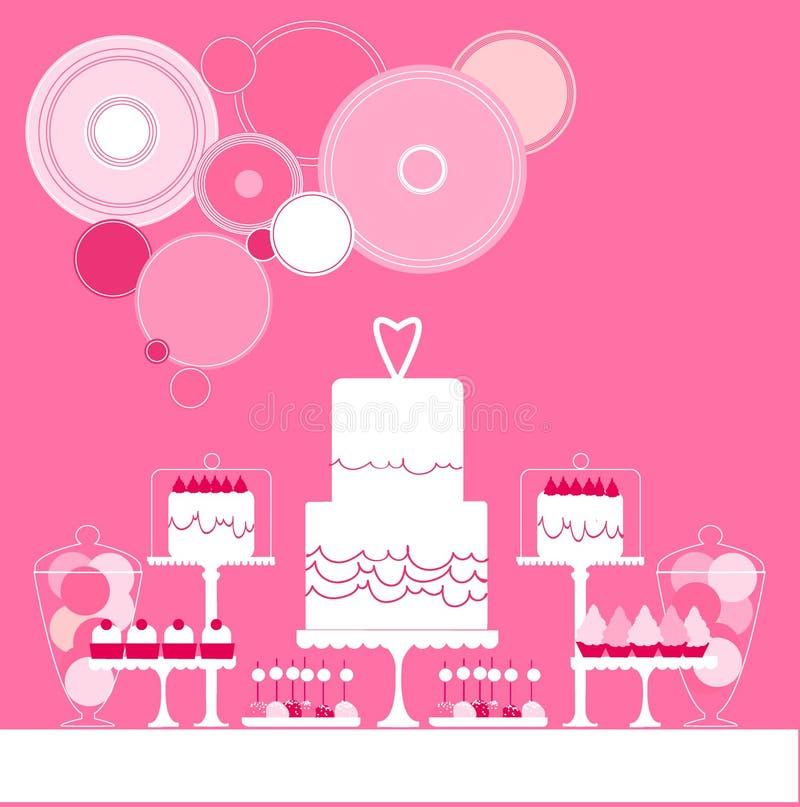 Pastei 8 van het huwelijk Zoete lijst Vector illustratie vector illustratie