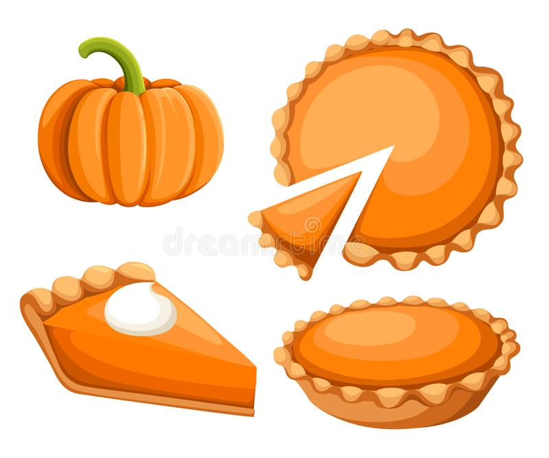 Pastei Vectorillustratie Dankzegging en Vakantiepompoenpastei De gelukkige pastei van de Thanksgiving day traditionele pompoen me vector illustratie