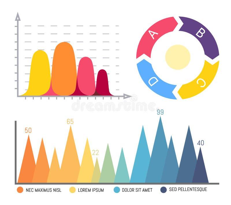Pasteidiagram, Infographics en Infocharts-Gegevens stock illustratie