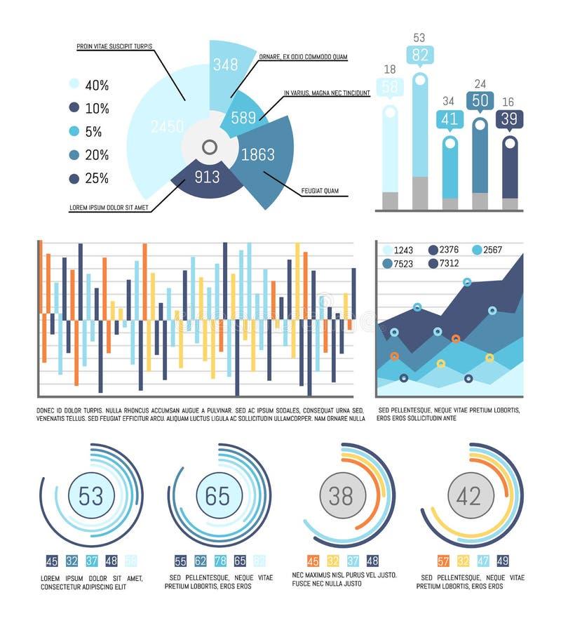 Pasteidiagram met Percentage en Infographics royalty-vrije illustratie