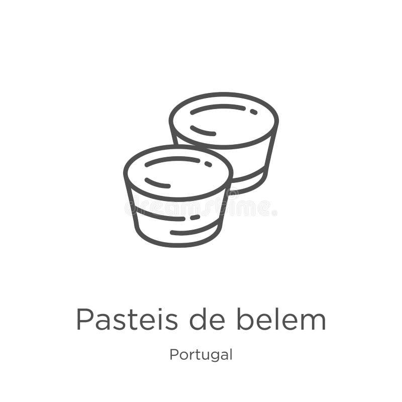pasteis de Belem ikony wektor od Portugal kolekcji Cienka kreskowa pasteis de Belem konturu ikony wektoru ilustracja Kontur, cien ilustracja wektor