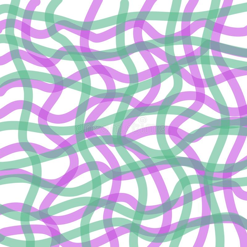 Pastel abstract aquarell line pattern. Abstract Aquarell pattern with brushstrokes lines in green and purple royalty free illustration