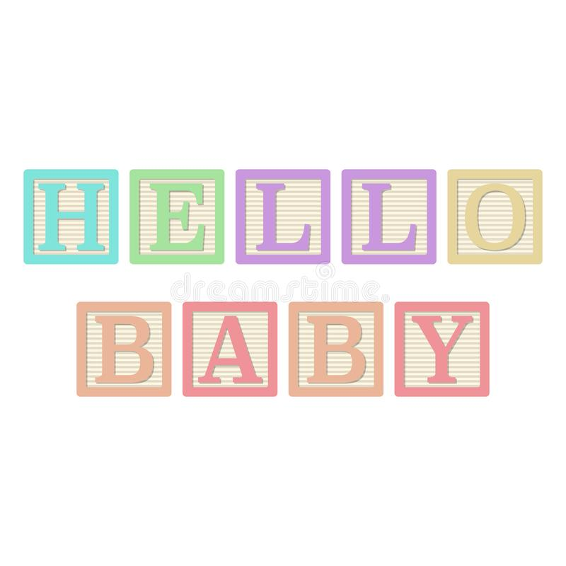 Hello Baby Alphabet Blocks vector illustration