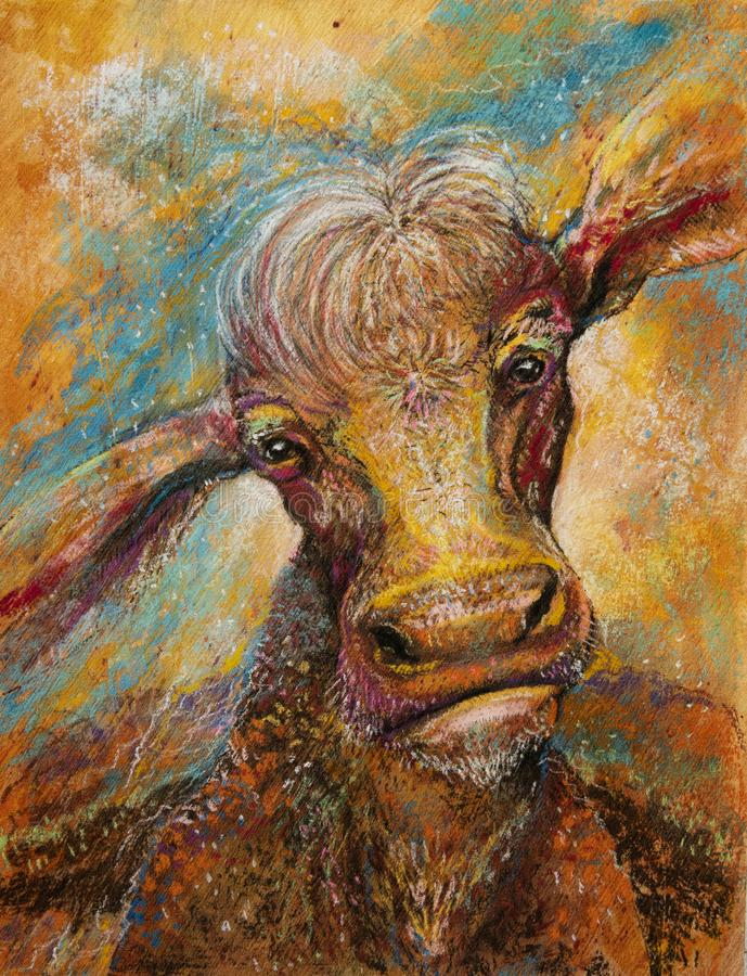 Cosmic cow art. Pastel art on a textured surface of a cosmic orange cow in the sunset with the blue cosmos in the background. The cow has a fierce triumphant stock photography