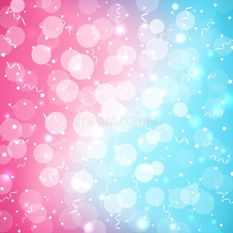 Pastel baby bokeh festive colorful background in beautiful cute style. Abstract blurred blue pink background sparkles confetti royalty free illustration