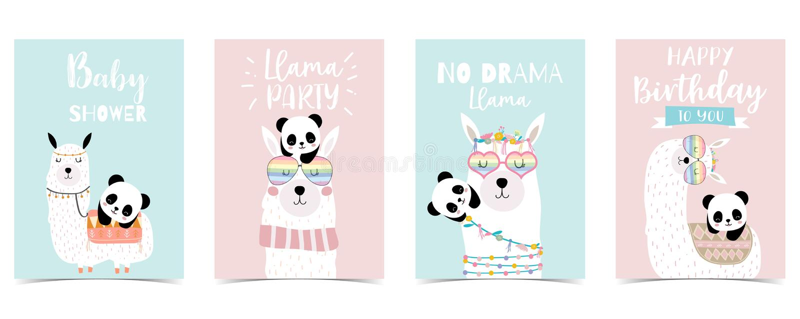 Pastel baby shower invitation card with llama and panda stock illustration