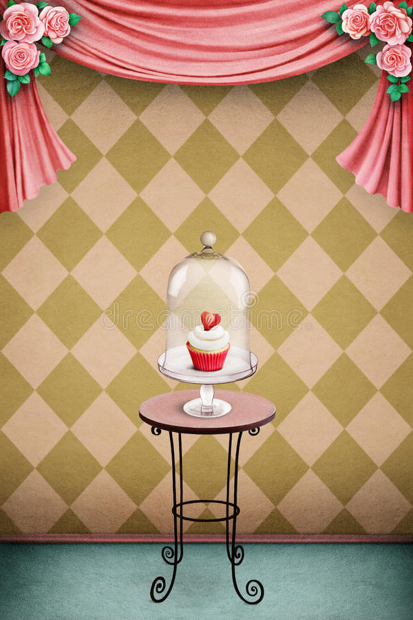 Pastel background with cake stock illustration