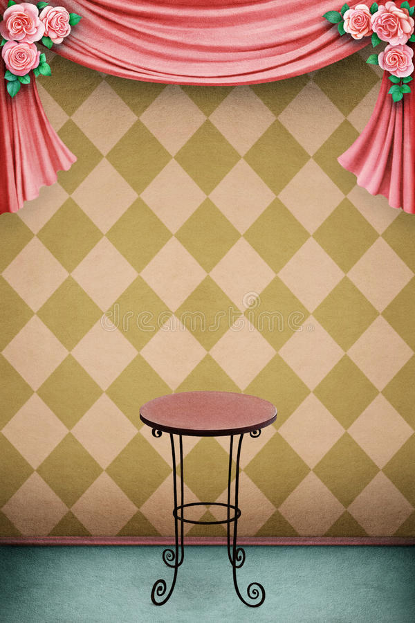 Pastel background with table royalty free illustration