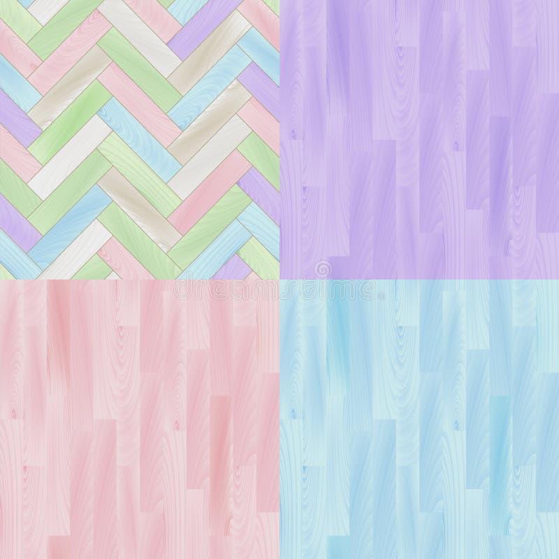 Pastel barwił realistycznych drewnianych podłogowych parkietowych bezszwowych wzory ustawiających, wektor royalty ilustracja