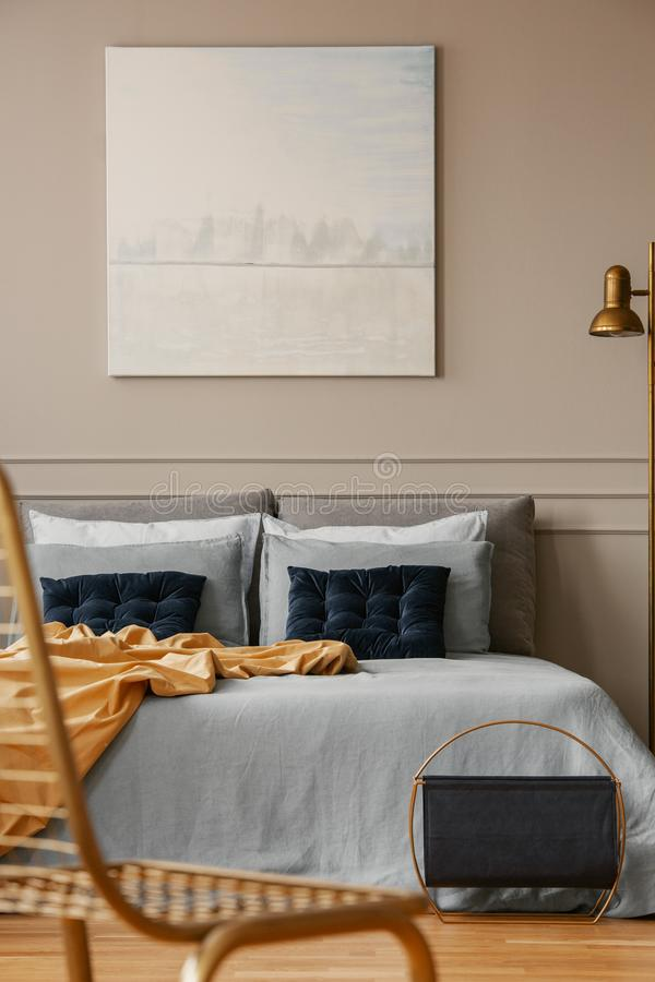Pastel Blue Abstract Painting Above King Size Bed In Elegant Bedroom Stock Photo Image Of Luxury Flat 156985998