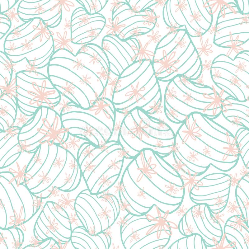 Pastel blue bouncy striped hearts packed together and covered in hand drawn scribble style pink flowers. Seamless vector pattern. Great for fabric, home decor stock illustration