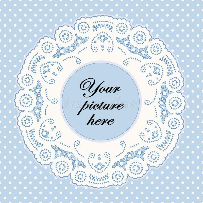 Pastel Blue Lace Doily Frame, Polka Dot Background
