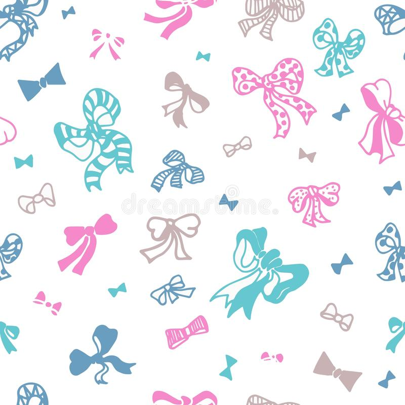 Colored bows on white background seamless vector pattern. For surface patterns design, packaging, textile, gift wrapping stock illustration