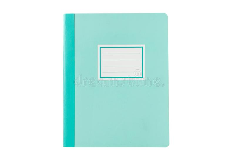 School notebook old fashioned isolated on white background, blank label, copy space, top view. Pastel blue school notebook or diary, old fashioned, isolated on royalty free stock image