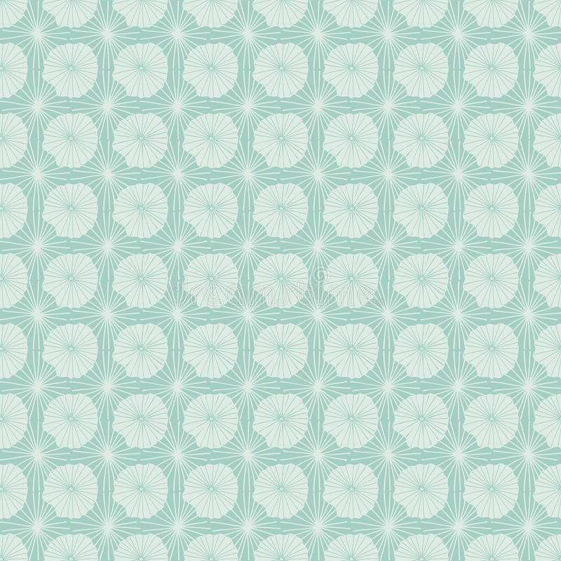 Pastel blue vector seamless repeat pattern of abstract organic shapes representing lotus leaves or jellyfish in a batik tribal royalty free illustration