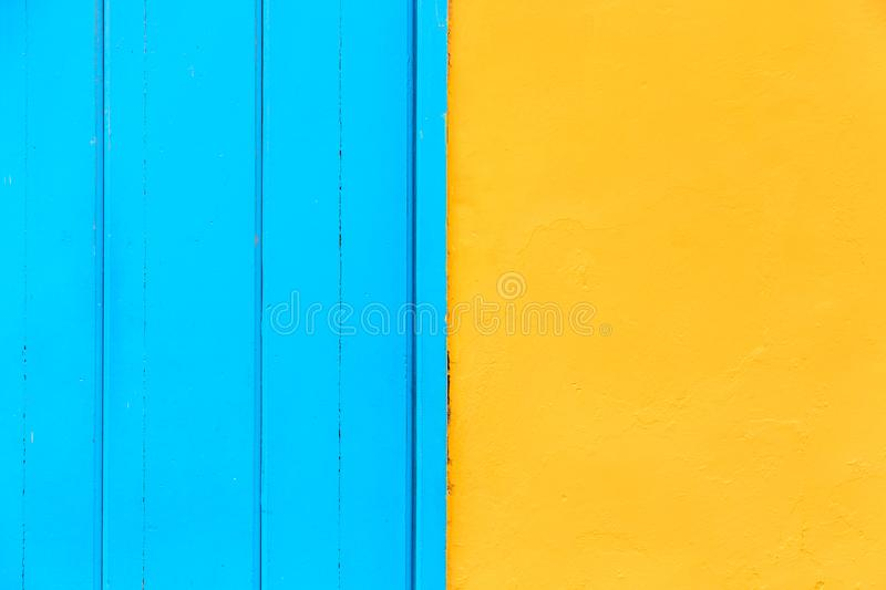 Pastel blue wooden and yellow wall background. Architecture details on Havana, Cuba stock images