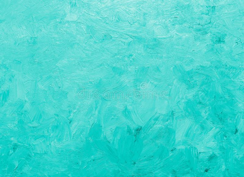 Pastel bright teal colored oil painted background royalty free stock photos