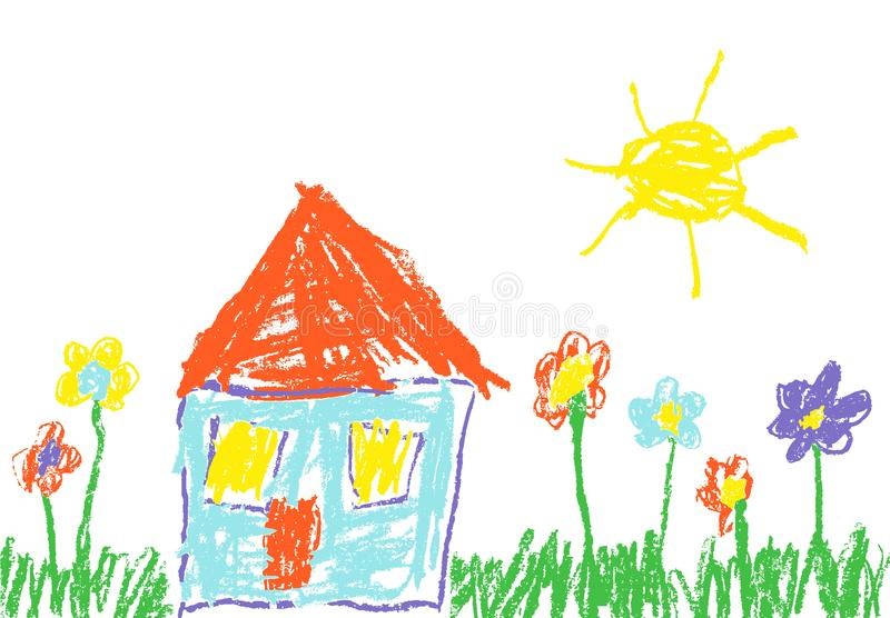 Wax crayon like child`s hand drawn house, grass, colorful flowers and sun. vector illustration
