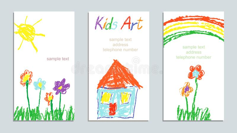 Wax crayon like child`s hand drawing art house, grass, colorful flowers, rainbow and sun. stock illustration