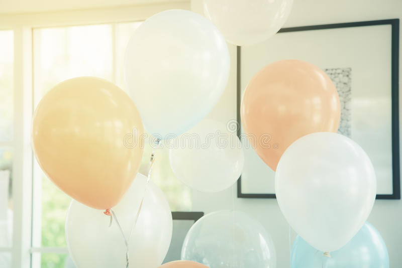 Pastel color balloons. For decoration party stock image