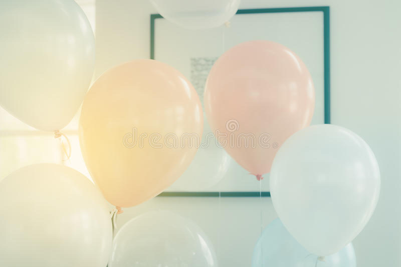 Pastel color balloons. For decoration party royalty free stock photo