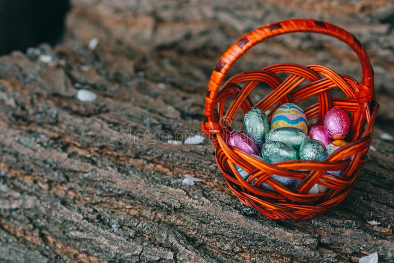 Pastel color Easter chocolate eggs in a basket, vintage green background, shallow depth of field royalty free stock photo
