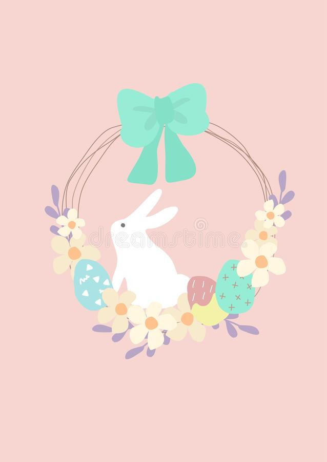 Pastel color easter wreath with egg and white bunny. Pink pastel color Easter wreath with egg and white bunny stock illustration