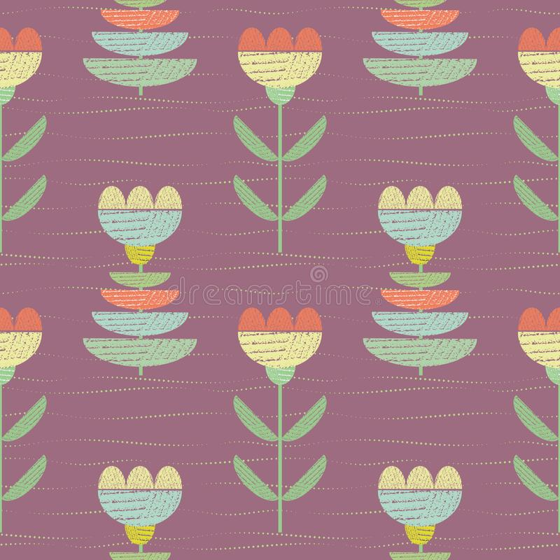 Pastel color flowers with textured fabric look. Vector seamless pattern on rose purple background with subtle hand drawn vector illustration