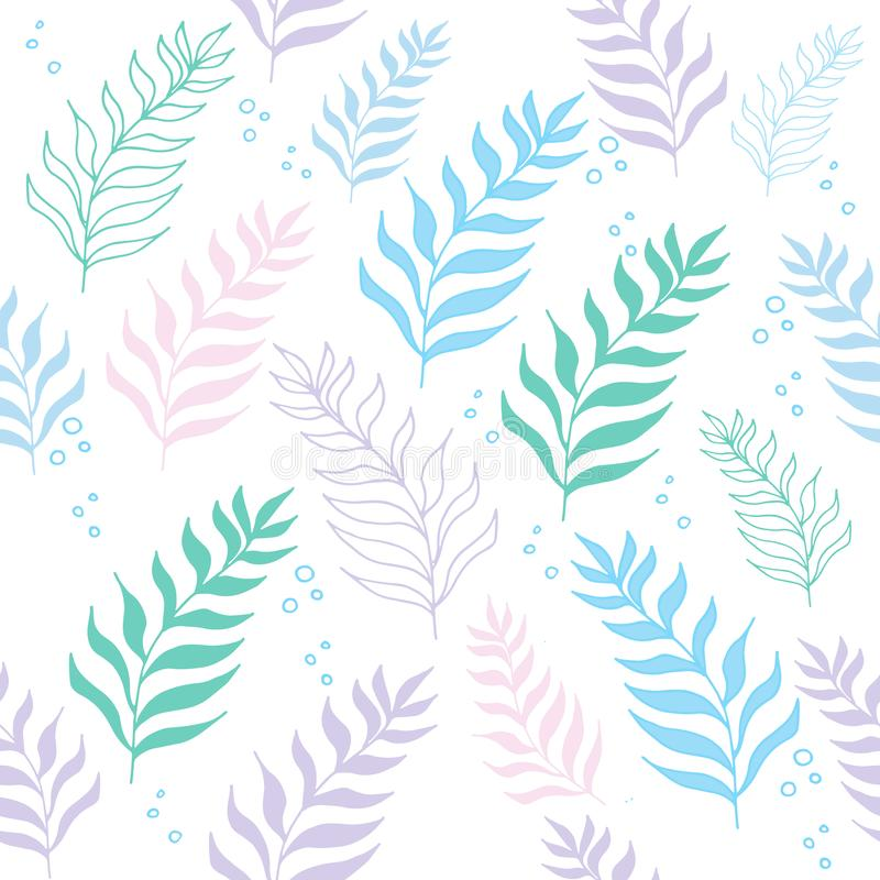 Pastel color jungle seamless tropical exotic pattern on the white background. royalty free illustration