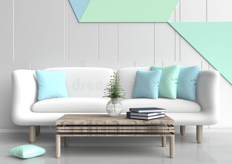 Pastel color living room. stock illustration. Illustration ...