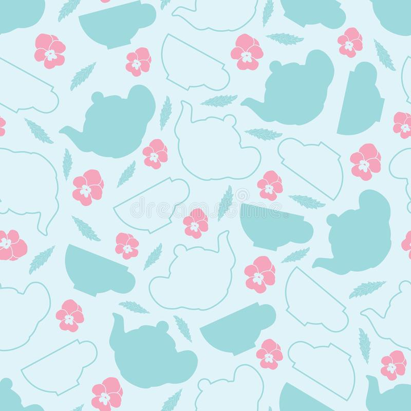 Pastel color Tea vector seamless Pattern with flowers royalty free illustration