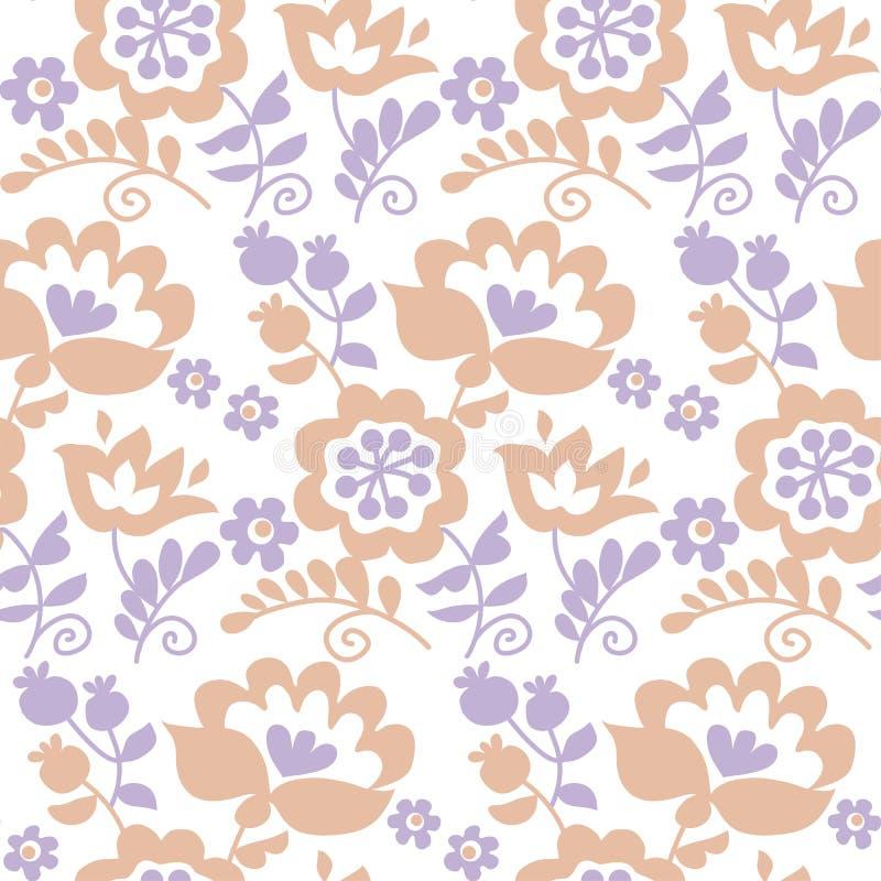 Pastel color traditional european Ukrainian ornament. Rustic floral composition. rural folk style flower seamless pattern vector illustration