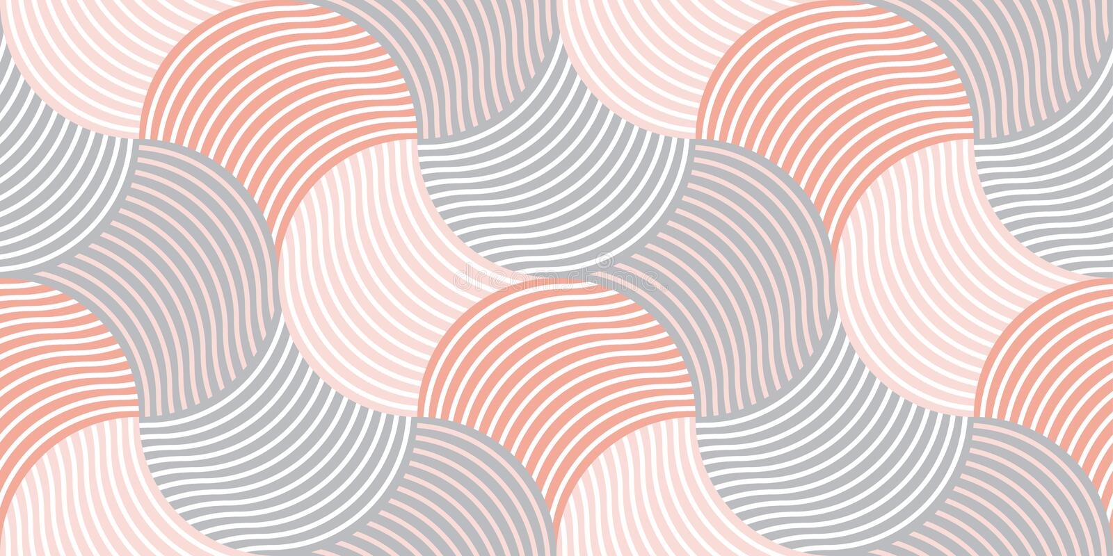 Pastel color 60s style geometric seamless pattern. Pastel color vintage 60s style geometric seamless pattern. Striped wavy repeatable motif for fabric, wrapping royalty free illustration