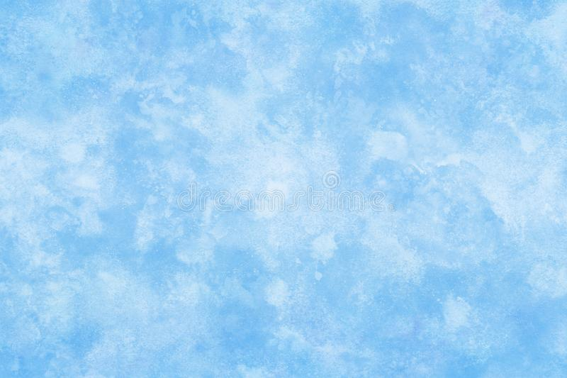 Pastel color winter blue ice texture abstract or natural watercolor paint background stock illustration