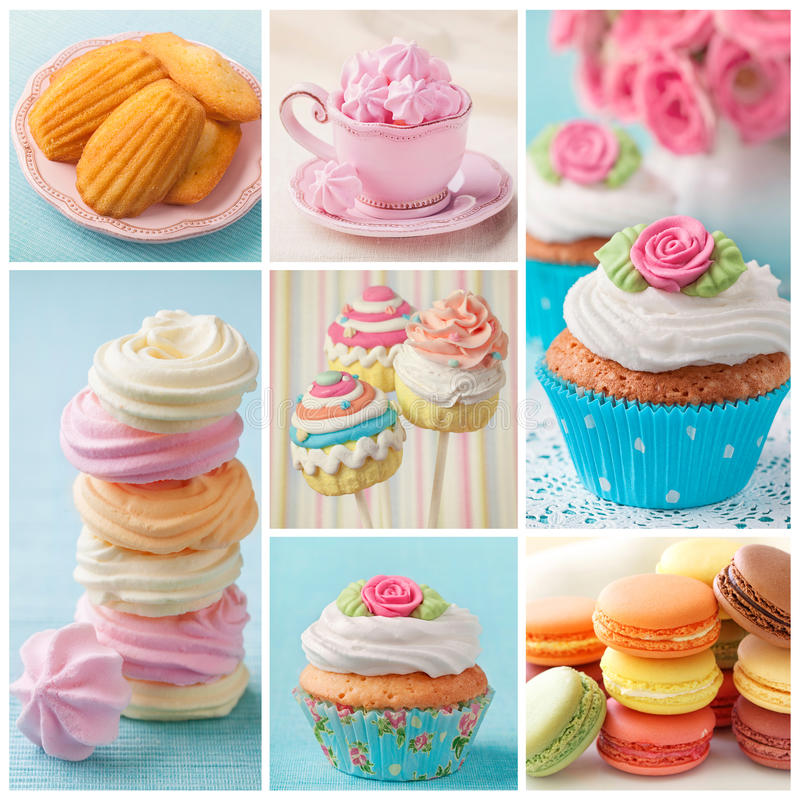 Pastel Colored Cakes Collage Stock Photo