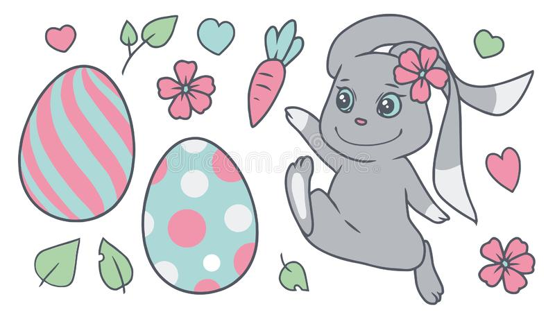 Pastel colored cartoon easter vector collection set with bunny, spring flowers, colored eggs, leaves, hearts royalty free illustration