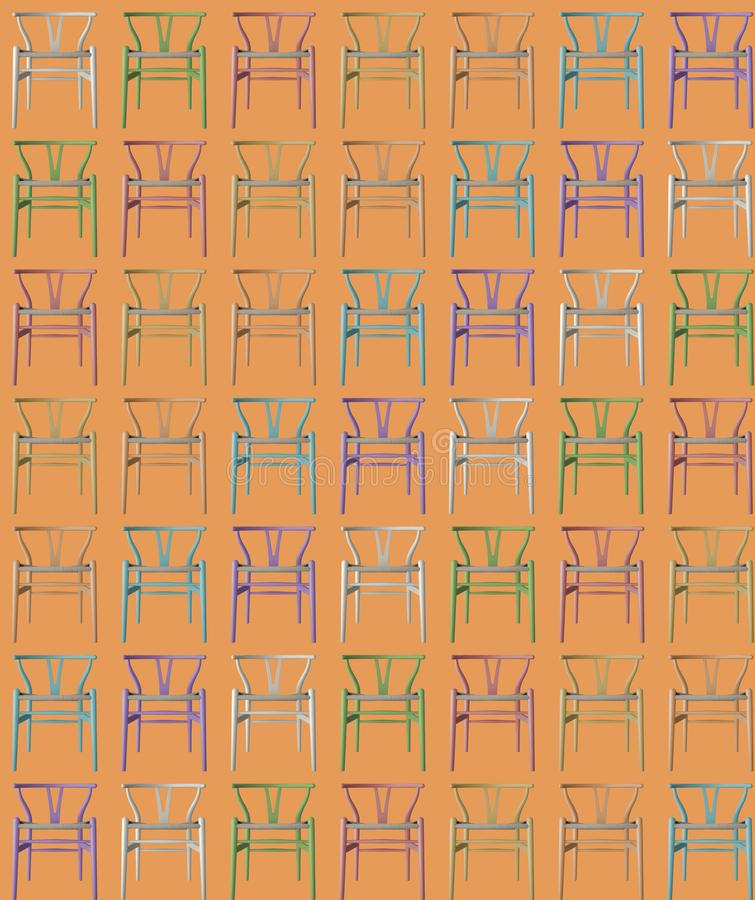 Pastel colored chairs texture background wallpaper, tileable, on orange background, furniture concept idea, interior. Design stock illustration