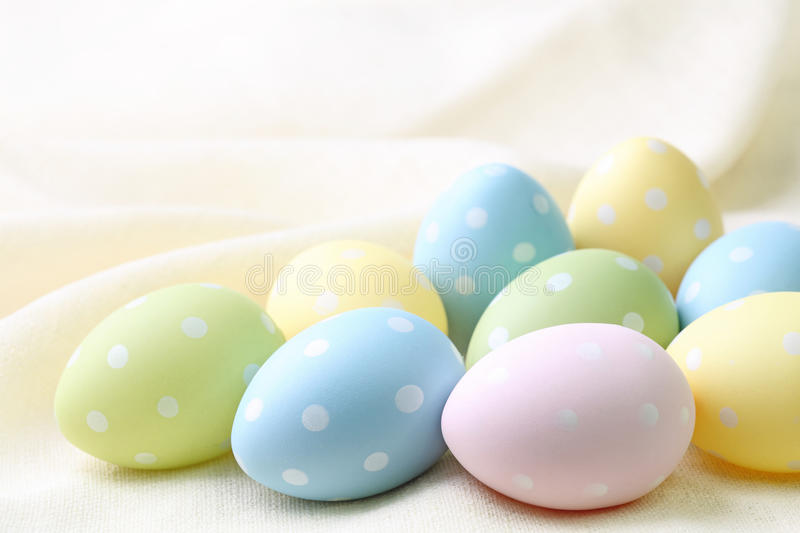 Pastel colored easter eggs stock images