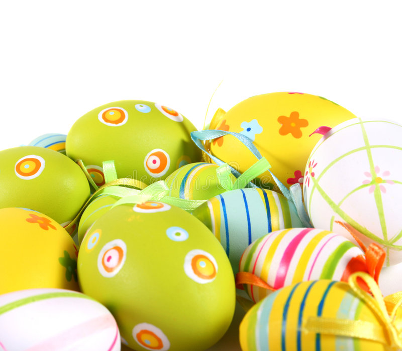 Pastel and colored Easter eggs. Easter eggs painted on a white background