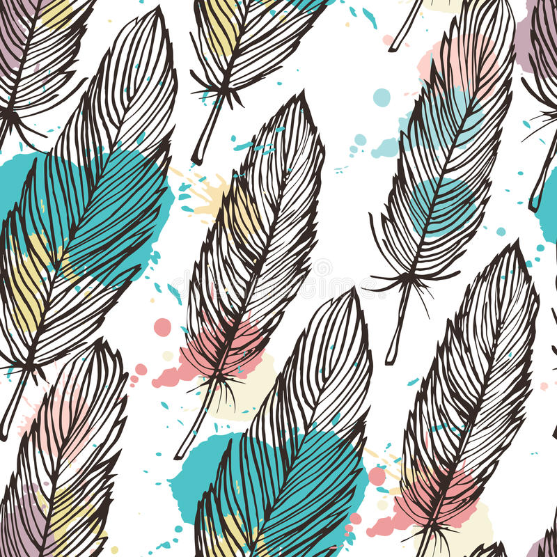 Pastel colored feather seamless background. Vector pattern stock illustration