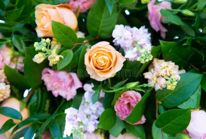 Pastel colored floral arrangement stock photo