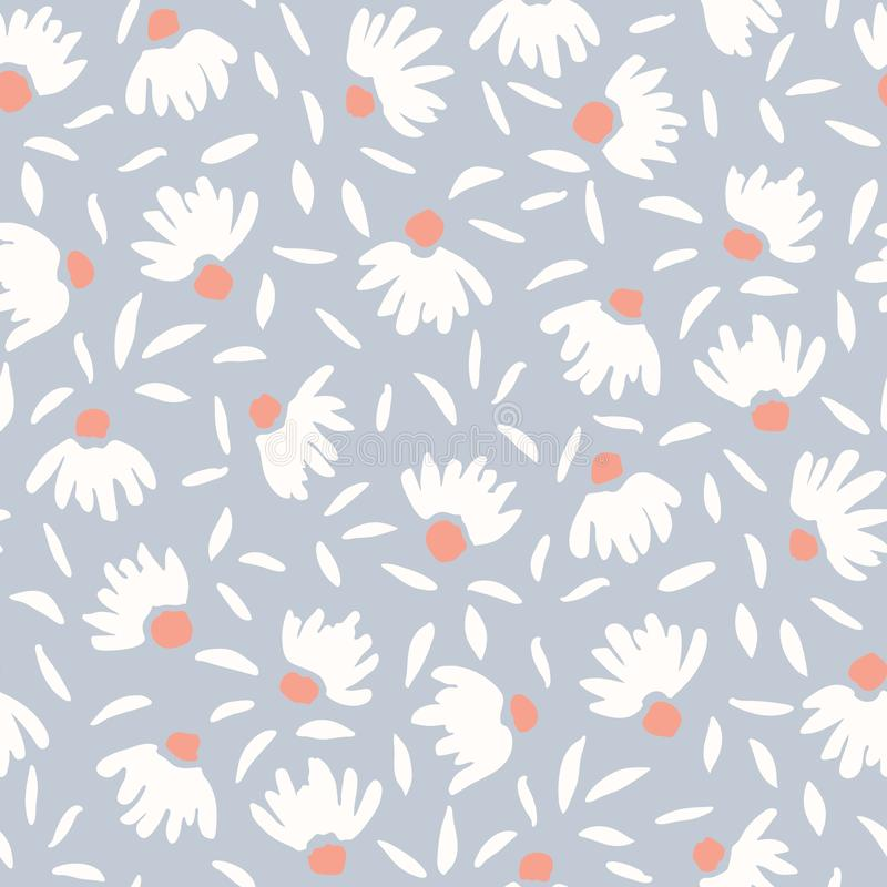 Pastel Colored Loosely Hand Drawn Feminine Elegant Cone Flowers Vector Seamless Pattern. Spring-Summer Floral Print stock illustration