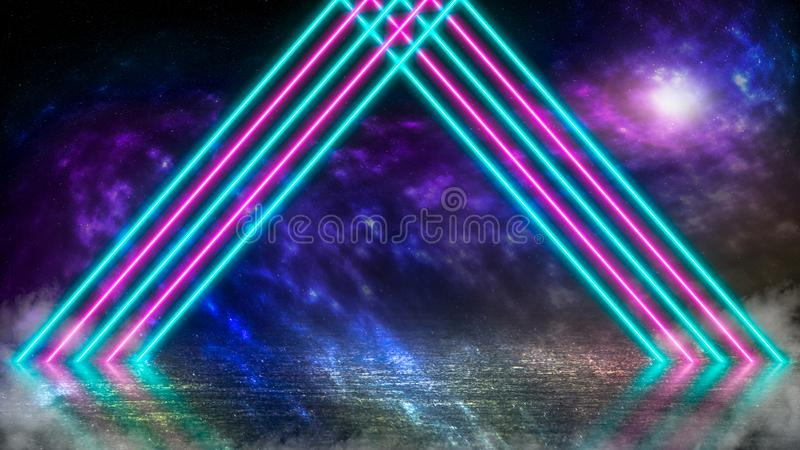 Pastel colored neon laser lights on alien planet with ice and fog. vector illustration