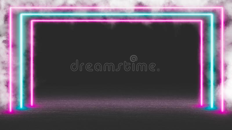 Pastel colored neon laser lights with smoke. royalty free stock photography